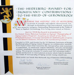 Heidelberg Club International prize certificate