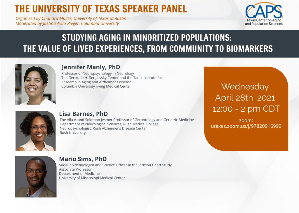 CAPS PANEL: Studying Aging in Minoritized Populations: The Value of Lived Experiences, From Community to Biomarkers