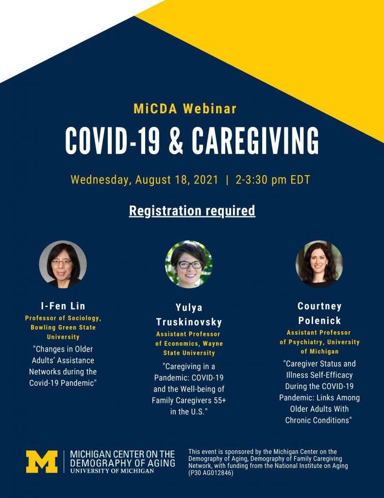 2021-08-18 MiCDA Covid-19 and Caregiving webinar poster